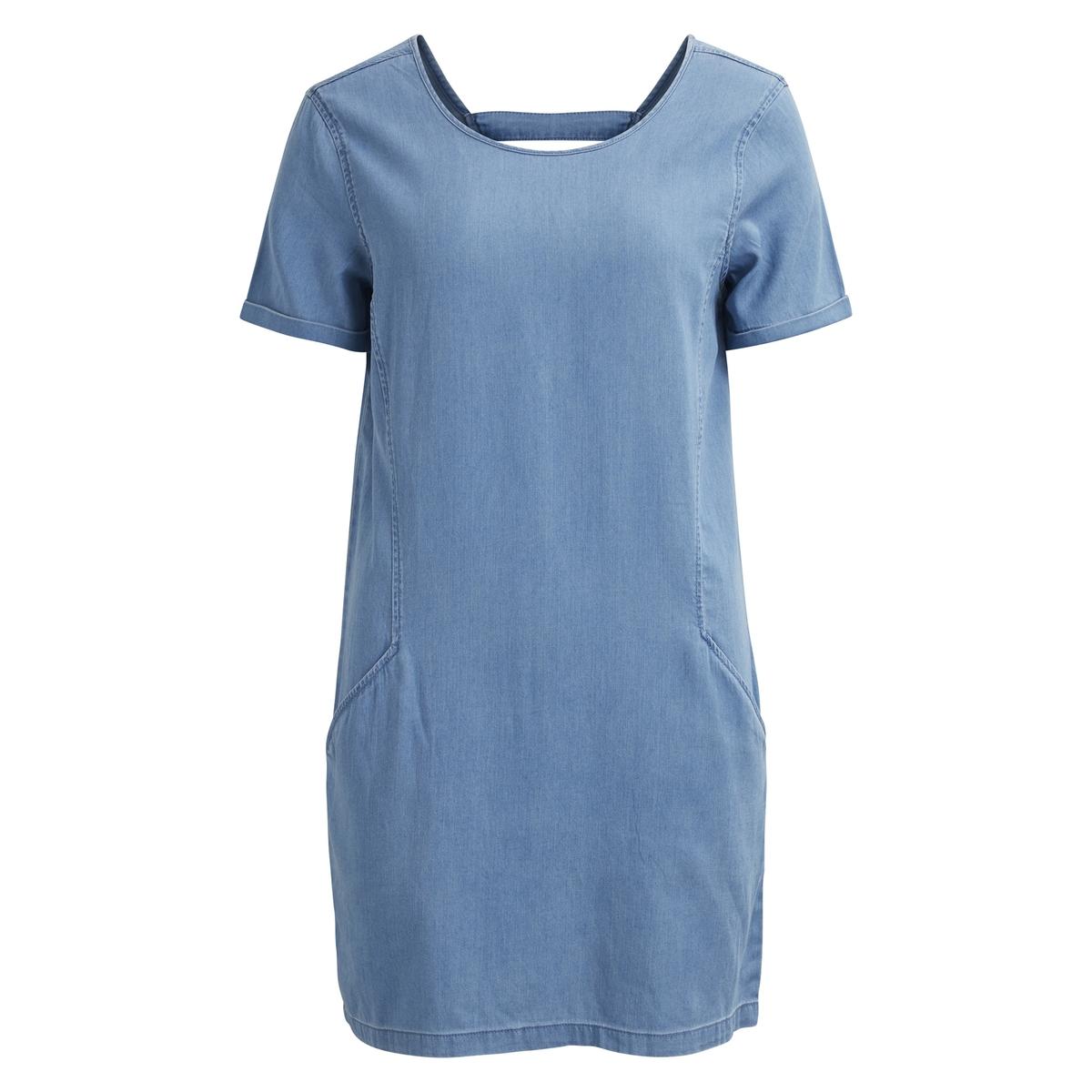 Платье-футляр из лёгкого денима с короткими рукавами платье футляр