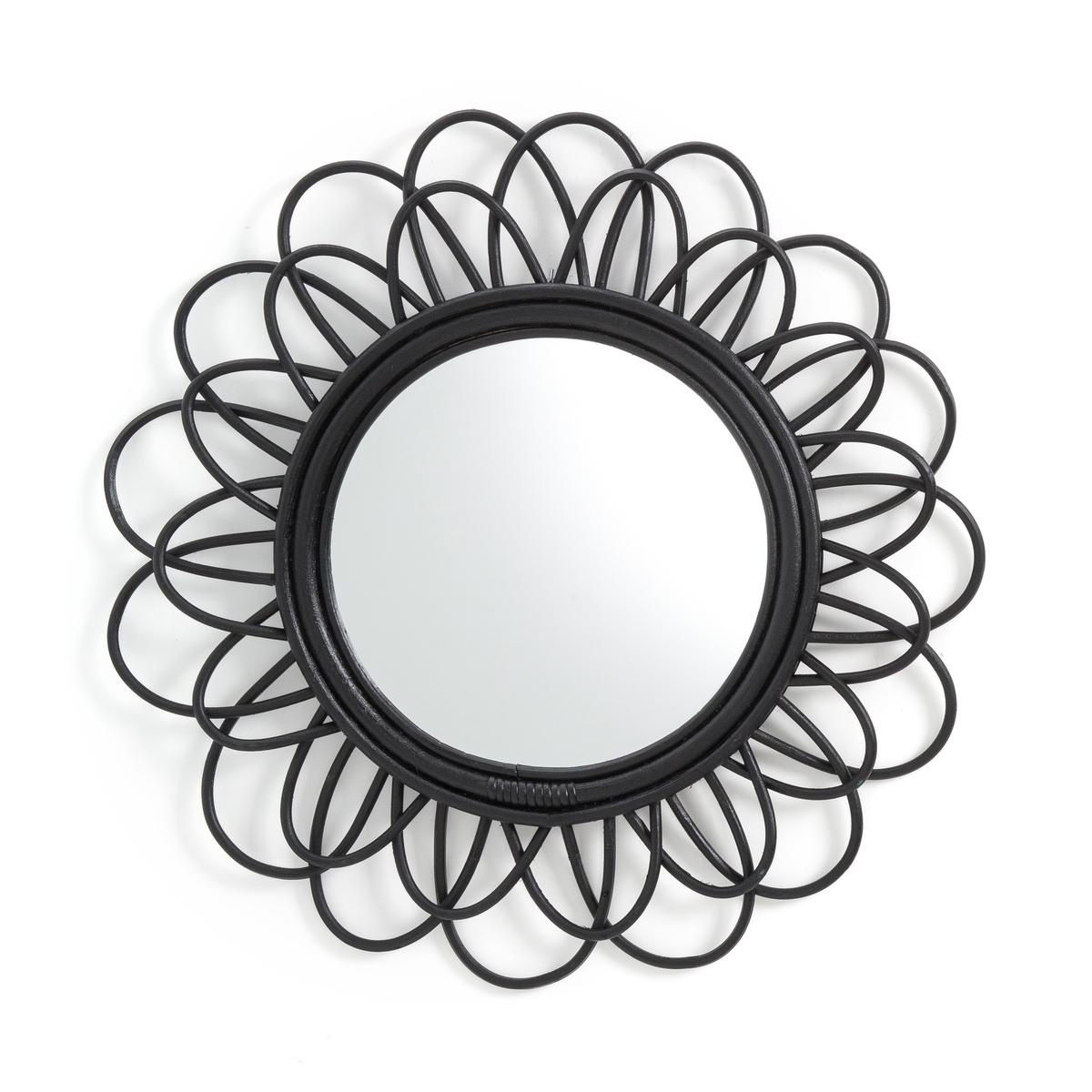 Зеркало LaRedoute Из ротанга черного цвета в форме двойного цветка 60 см Nogu единый размер черный