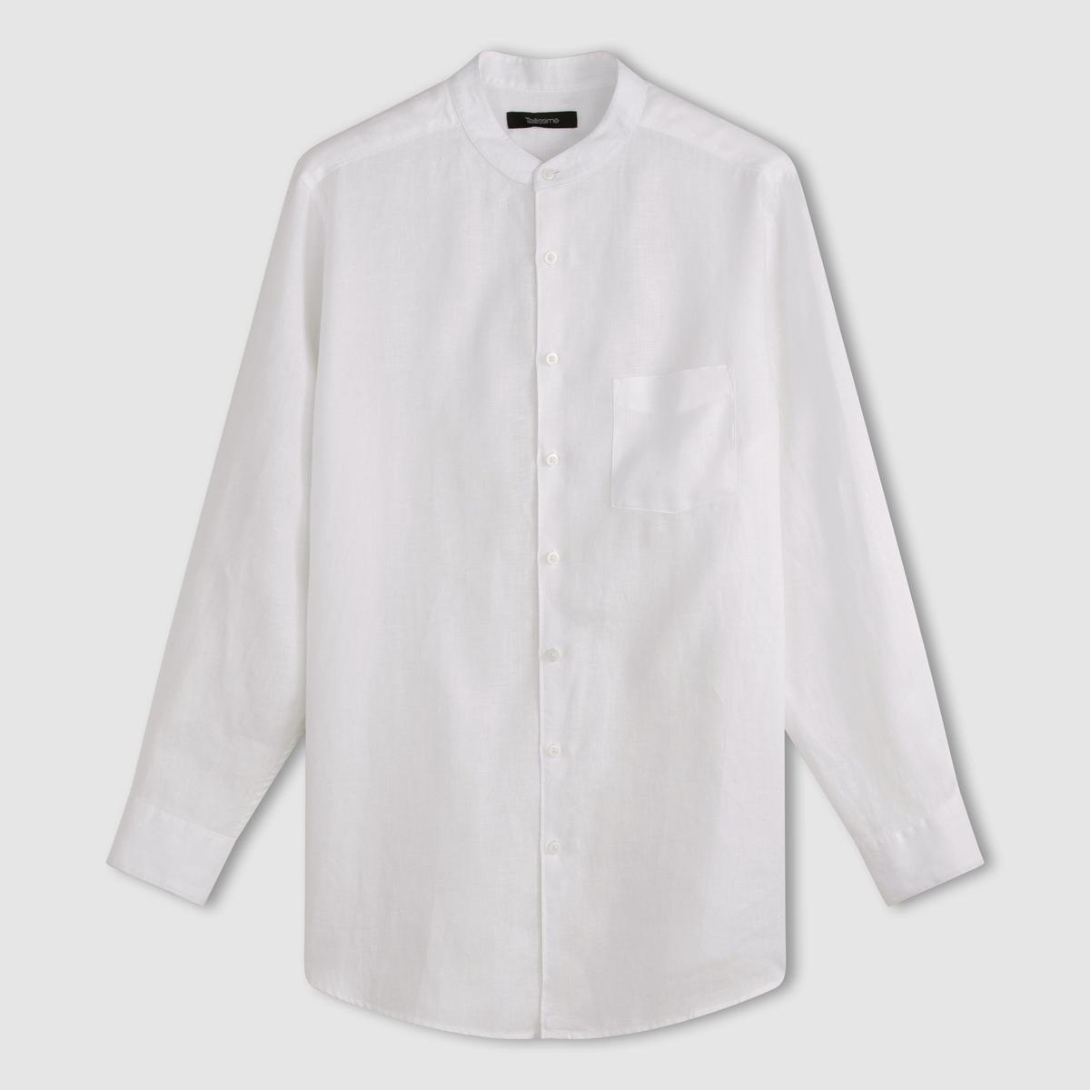 Рубашка с длинными рукавами и воротником-стойкой из льнаРубашка с воротником-стойкой. Длинные рукава. 1 накладной нагрудный карман. Закругленный низ. Складка с полоской ткани на спинке. 100% лен. - длина рубашки спереди : 85 см для размера 41/42 и 93 см для размера 57/58.- длина рукавов : 67 см<br><br>Цвет: белый,темно-синий
