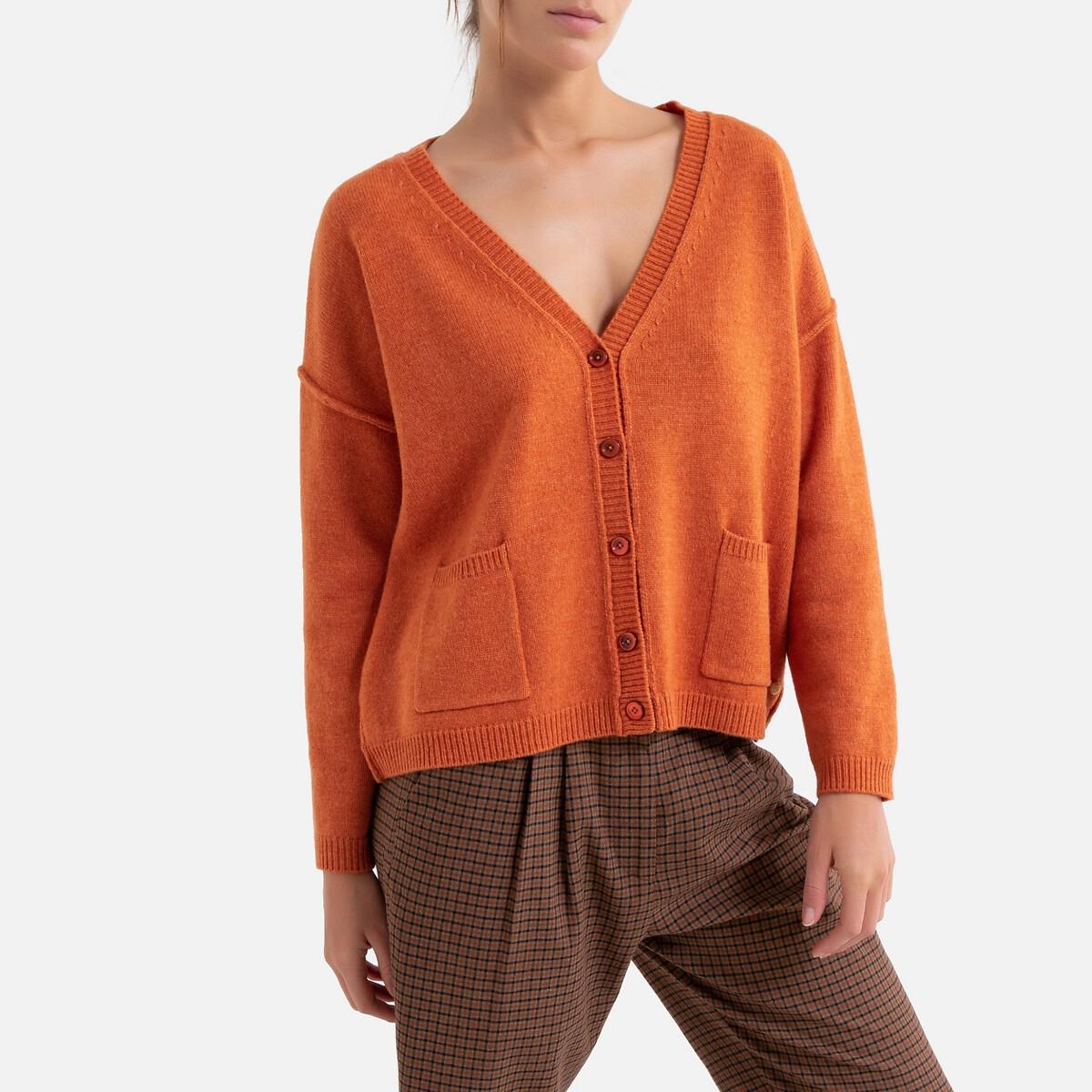 Кардиган LaRedoute Длинный с v-образным вырезом из тонкого трикотажа на пуговицах 3(L) оранжевый