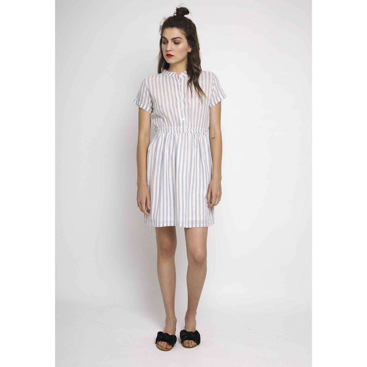 Платье в полоску с короткими рукавами и эластичным поясом season4reason season4reason платье с поясом 168056