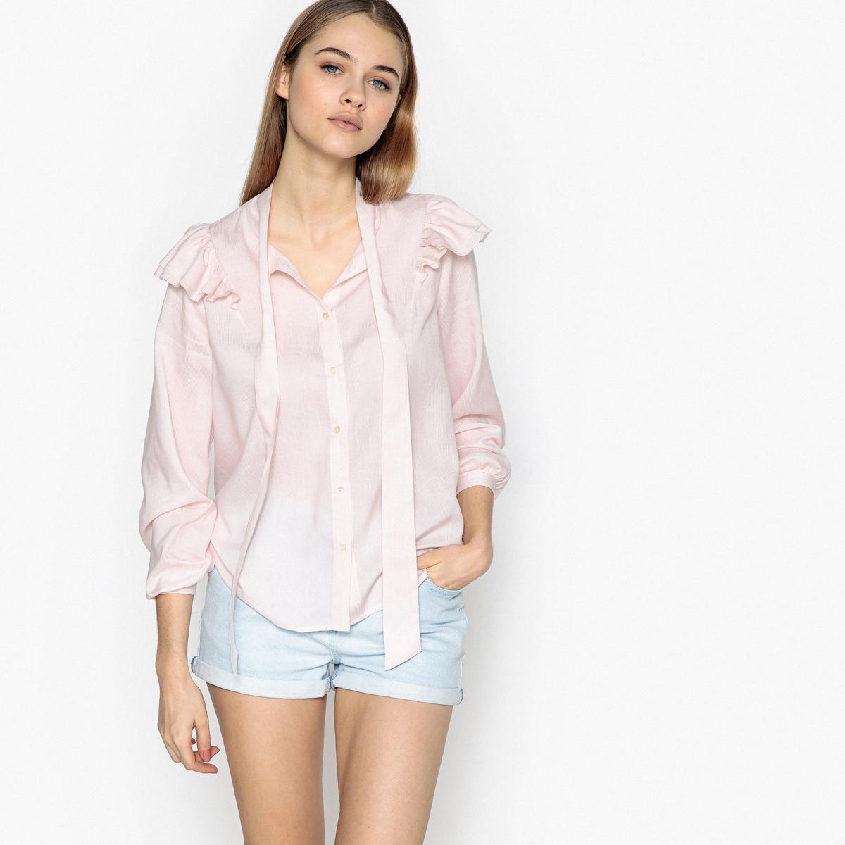 Рубашка La Redoute Прямого покроя с круглым вырезом и длинными рукавами M розовый рубашка la redoute прямого покроя в клетку с длинными рукавами 45 46 серый