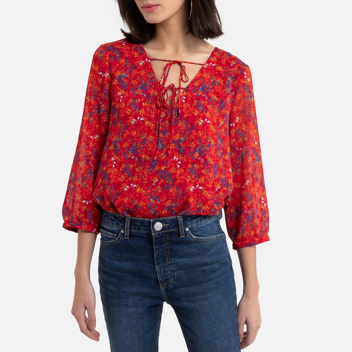 Блузка La Redoute С рисунком и рукавами 34 (FR) - 40 (RUS) розовый блузка с рисунком и рукавами с напуском kalao blouse
