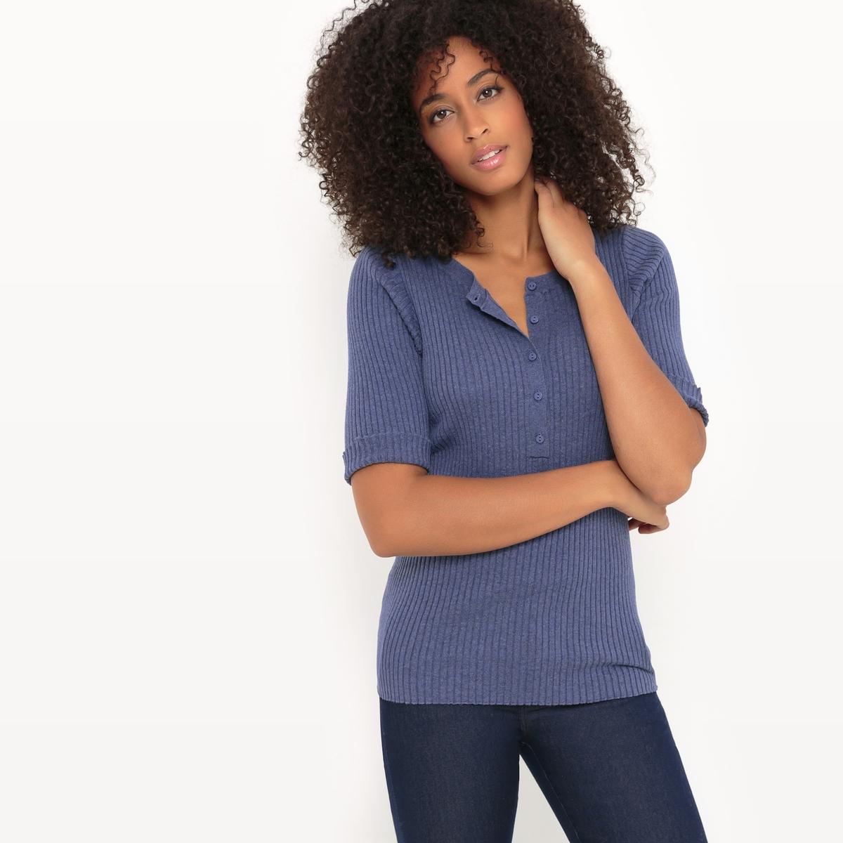 Пуловер из меланжевого трикотажа с круглым вырезом с разрезом спереди myone пуловер из шелка и хлопка