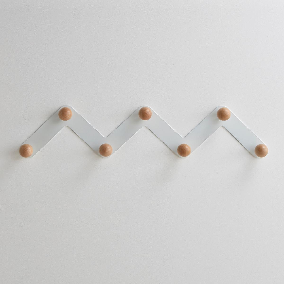 Вешалка настенная AGAMA с 7 держателямиВешалка настенная AGAMA на металлическом суппорте зигзагообразной формы для размещения любых вещей. 7 круглых держателей из натурального дерева (береза) на металлическом каркасе черного или белого цвета. Крепления в комплект не входят. Размеры:Диаметр: 5 см.Ширина: 89,7.Высота: 19 см.Глубина: 7,5 см.<br><br>Цвет: белый<br>Размер: единый размер