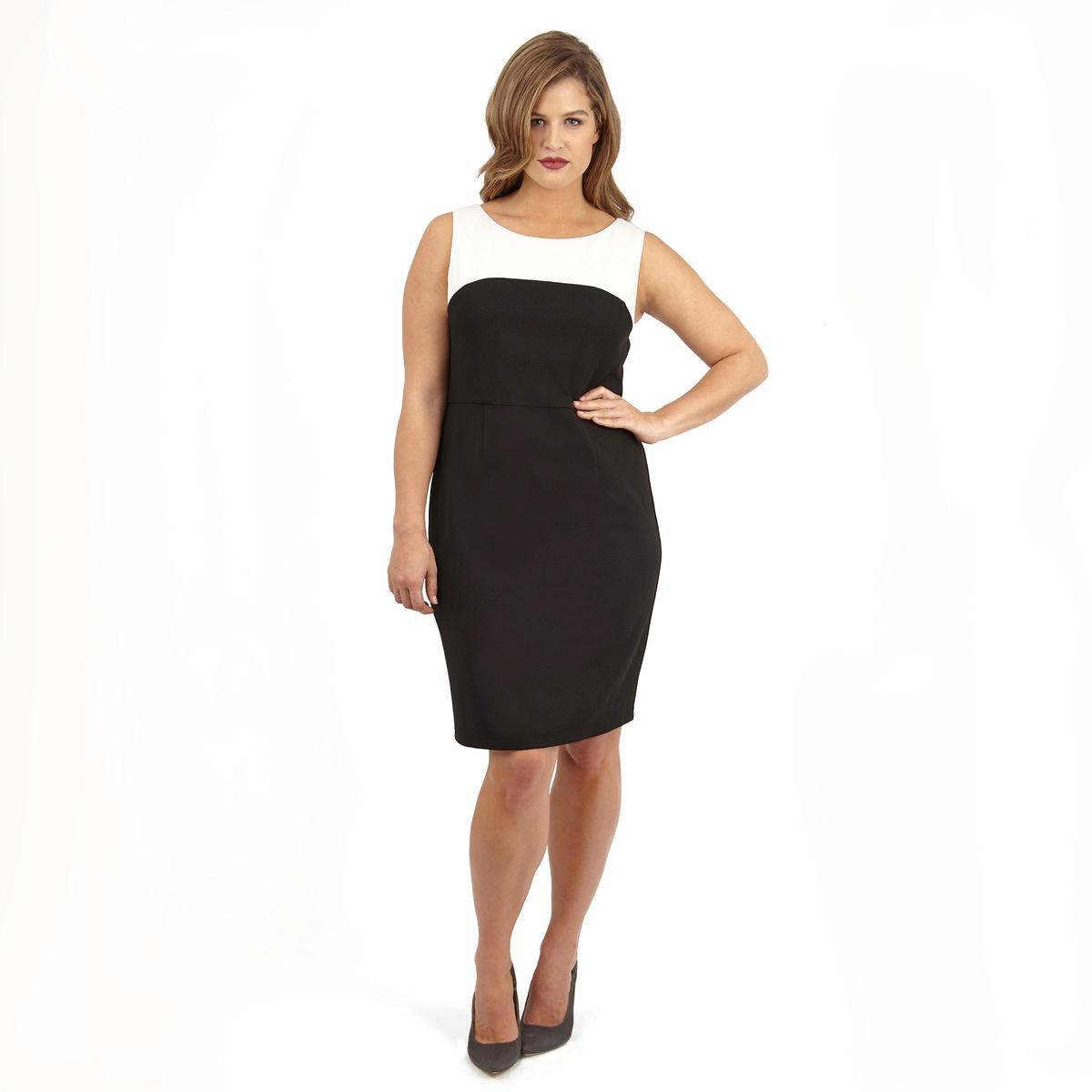 ПлатьеПлатье без рукавов LOVEDROBE. Красивое двухцветное платье. 100% полиэстер.<br><br>Цвет: черный/ белый<br>Размер: 50/52 (FR) - 56/58 (RUS)