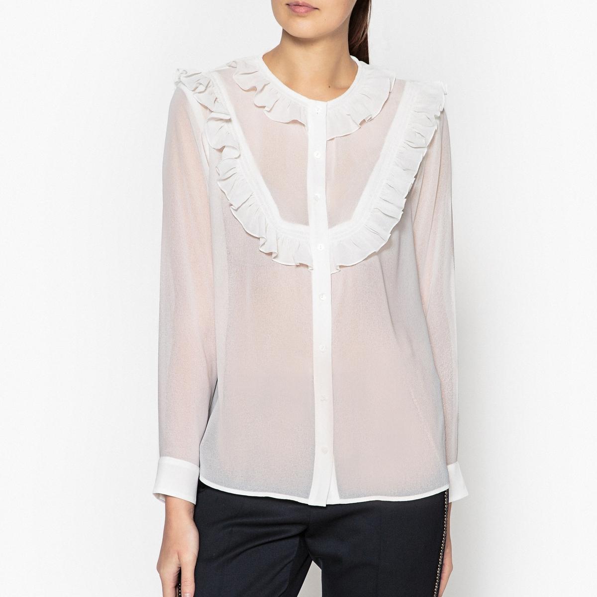 Рубашка LaRedoute Однотонная с длинными рукавами XS бежевый