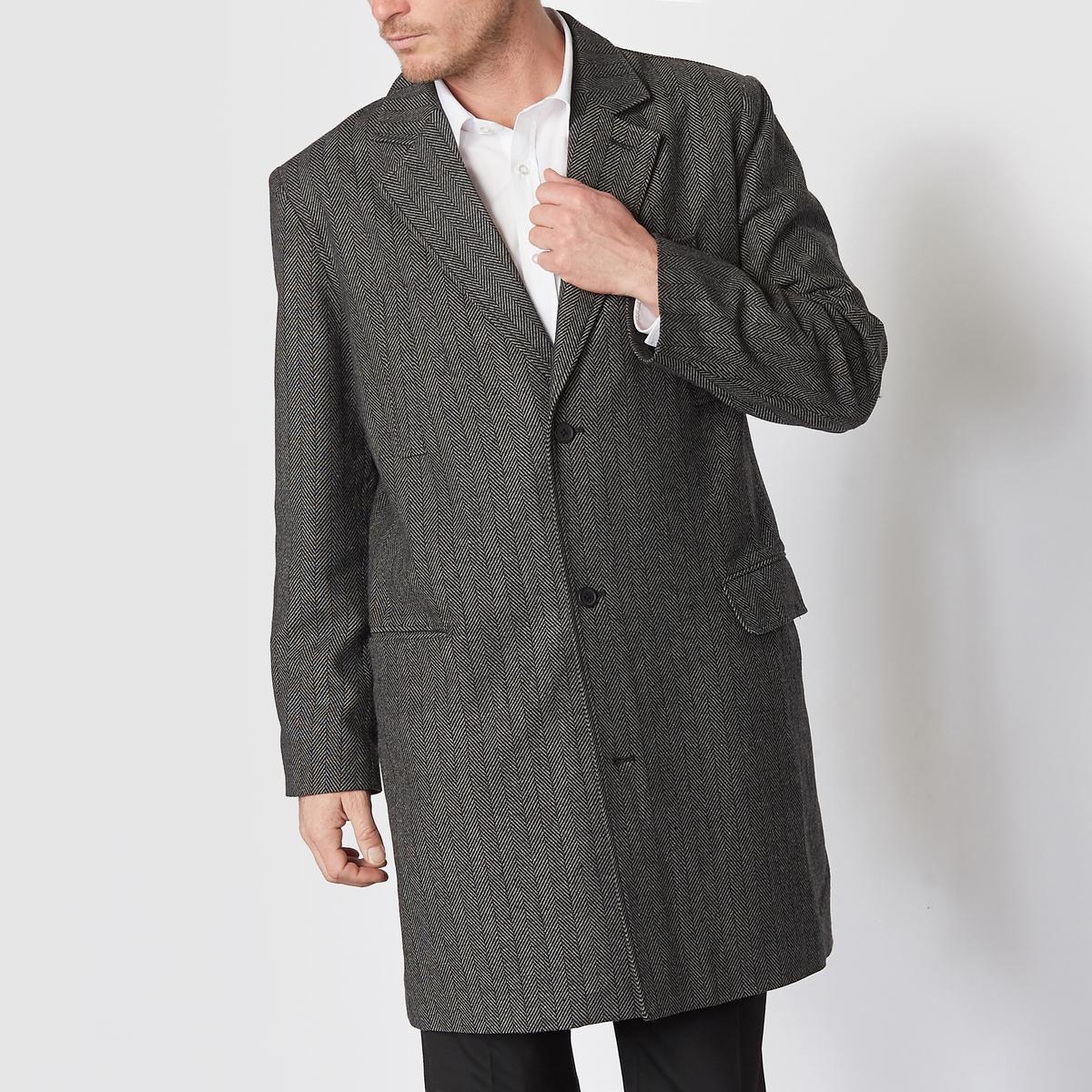 Пальто твидовое с рукавами ¾, с узором шеврон