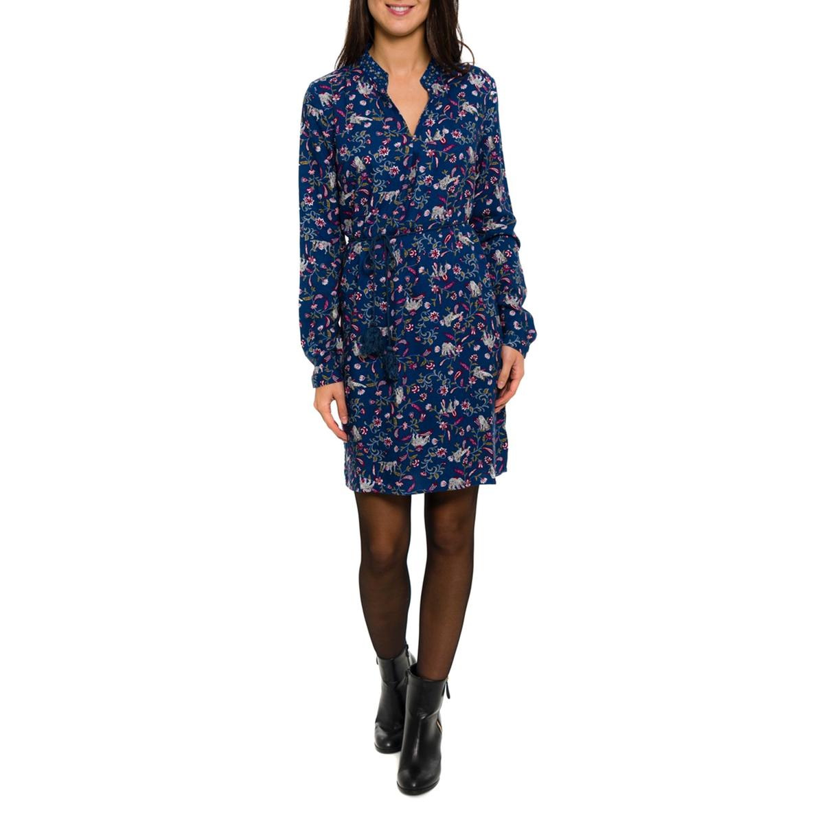 Платье с длинными рукавамиСостав и описание:Материал: 100% вискозы.   Марка: PARAMITA.<br><br>Цвет: синий/цветочный рисунок<br>Размер: XL