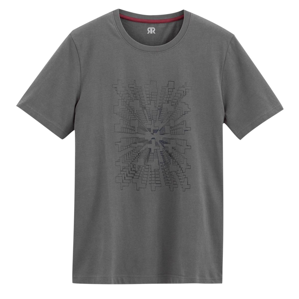 T-shirt estampada de gola redonda, mangas curtas