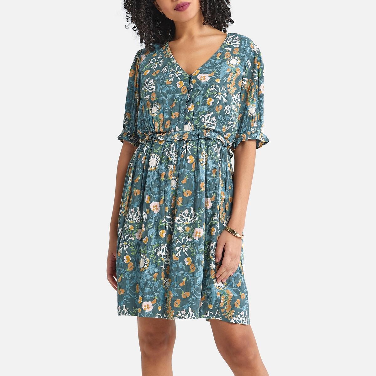 Платье LaRedoute — Короткое с цветочным принтом 40 (FR) - 46 (RUS) разноцветный