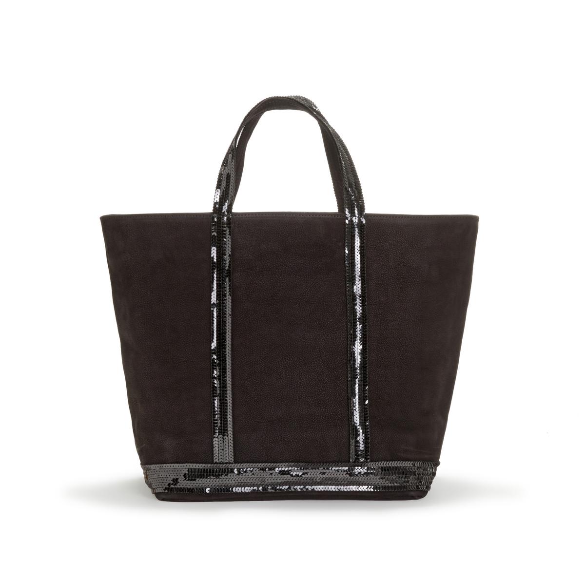 Фото - Сумка-шоппер La Redoute Среднего размера из нубука с блестками единый размер черный сумка шоппер средняя из парусины с блестками