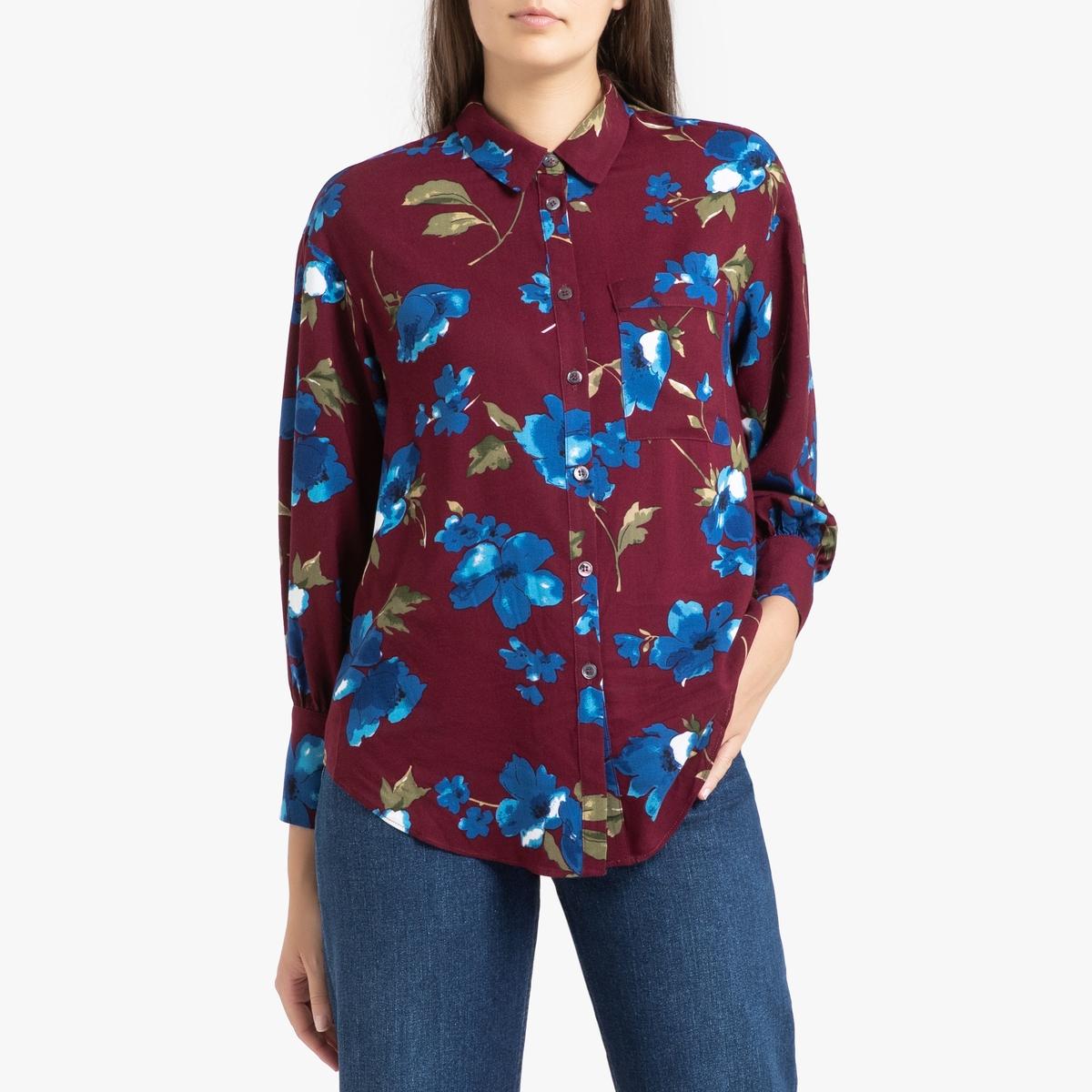 Рубашка La Redoute С длинными рукавами CAROLIE S/M красный цена 2017