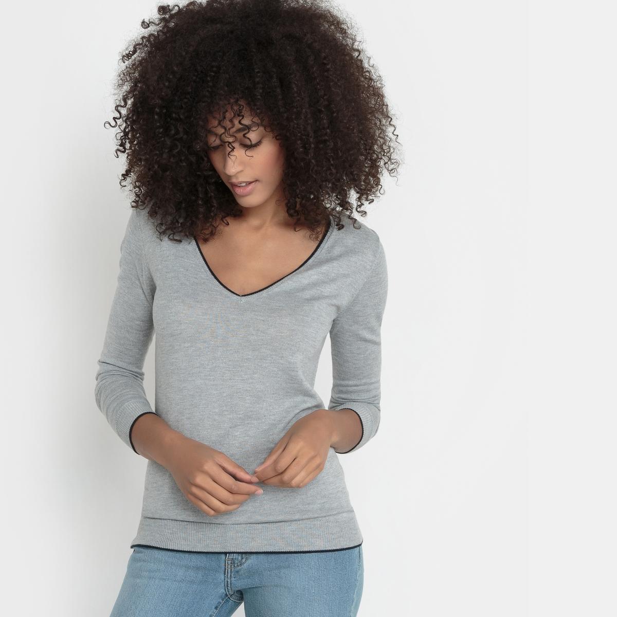 Пуловер с V-образным вырезом из смешанной ткани с шерстью