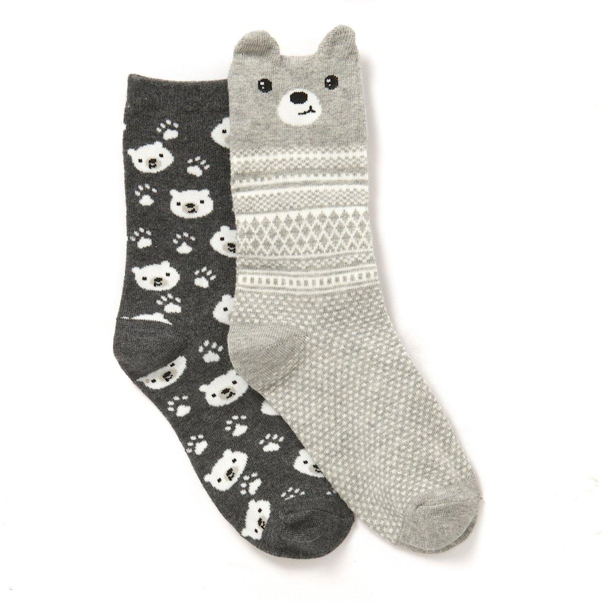 Носки фантазийные (2 пары)Носки с фантазийным рисунком медвежонок,  82% хлопка, 17% полиамида, 1% эластана.   2 пары в комплекте.<br><br>Цвет: набивной рисунок