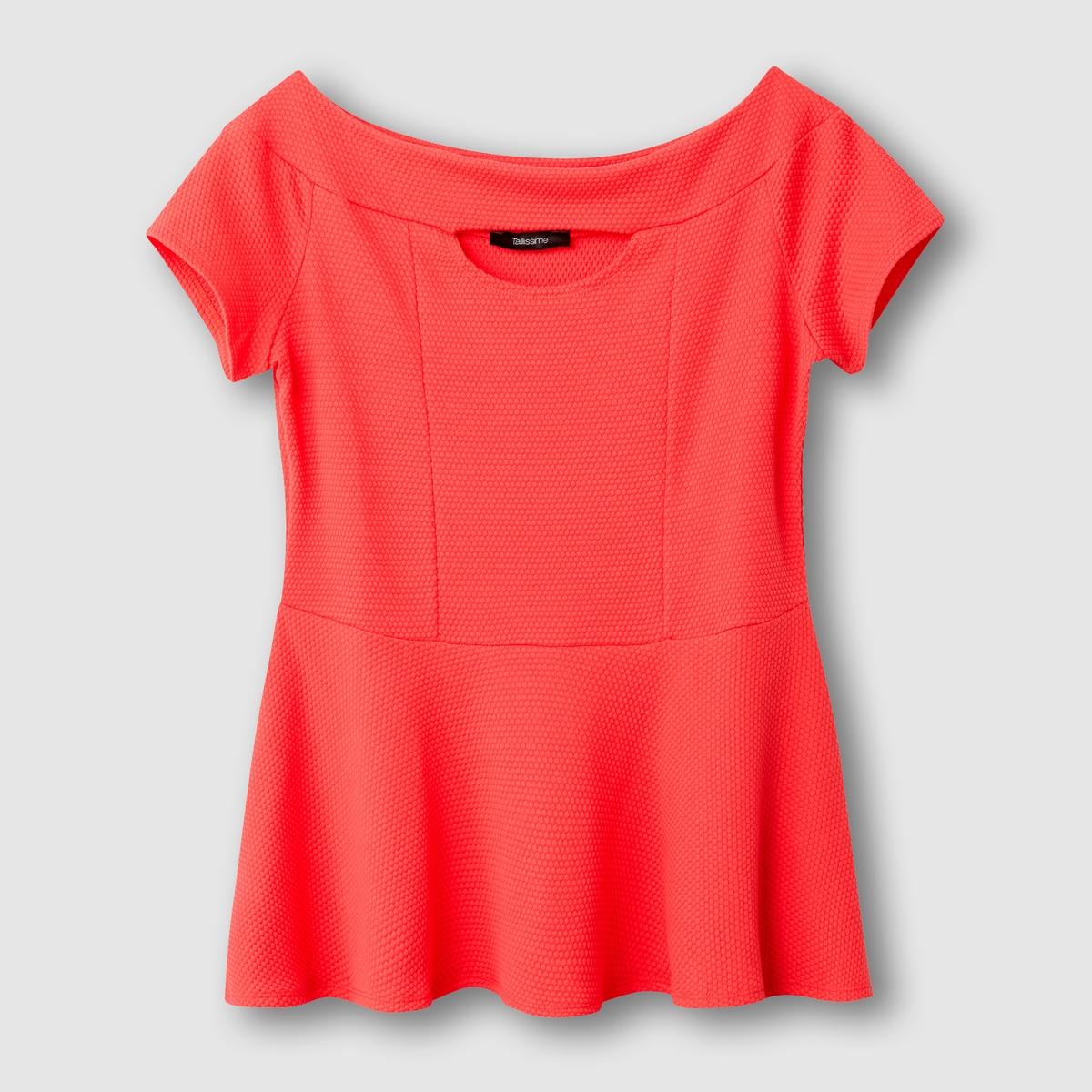 Футболка с баскойФутболка . Открытые плечи и баска придают этому топу женственности! Короткие рукава. Из рельефного трикотажа, 60% полиэстера, 37% хлопка, 3% эластана. Длина ок.66 см .<br><br>Цвет: коралловый,розовый<br>Размер: 42/44 (FR) - 48/50 (RUS).54/56 (FR) - 60/62 (RUS).58/60 (FR) - 64/66 (RUS)