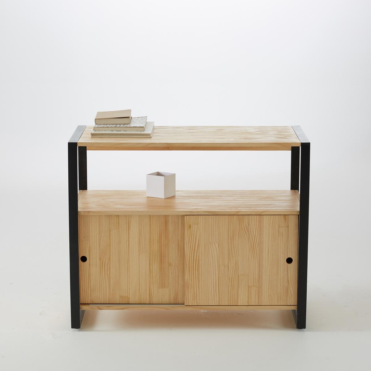 Стол-тумба из массива сосны и металла, HibaНизкий стол-тумба для ванной комнаты, Hiba. Модель без лишних деталей, очень сдержанная, может использоваться самостоятельно или в сочетании с моделями высокой мебели, или с зеркалом, которые продаются на сайте laredoute.ru. Описание:- 2 дверцы раздвижные.- 1 столешница.- 1 полка.Характеристики:- Металлическая конструкция, отделка порошковой эпоксидной чёрной матовой краской.- Столешница, дверцы и боковые панели из сосны, толщ. 15 мм, отделка нитроцеллюлозным лаком.- Дно из МДФ.Откройте для себя всю коллекцию Hiba на laredoute.ru Размеры:Общие:- Ширина: 90 см.- Глубина: 45 см.- Высота: 72,5 см. Размеры и вес в упаковке:1 упаковка. Шир. 100 x Гл. 53 x Выс. 19 см. 20,5 кг. Доставка: эта модель Hiba продаётся готовой к сборке. Возможна доставка до квартиры! Внимание! Убедитесь в том, что посылку возможно доставить на дом, учитывая ее габариты.<br><br>Цвет: серо-бежевый