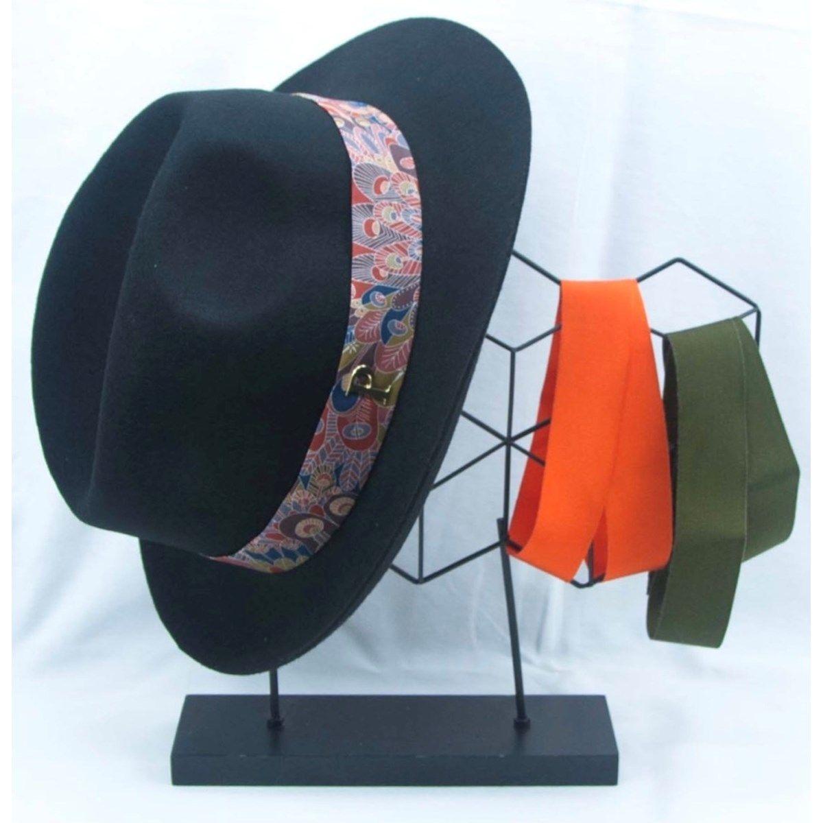 Lot chapeau feutre borsalino et 3 rubans interchangeables