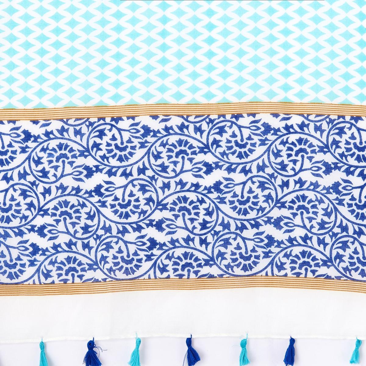 Платок с рисункомОписание:Платок с красивым рисунком и кисточками : можно сочетать по желанию с джинсами и элегантными нарядами.Состав и описание :Материал : 50% хлопка, 50% вискозыРазмеры : 190 х 95 см<br><br>Цвет: синий/бирюзовый,фуксия/ оранжевый<br>Размер: единый размер.единый размер