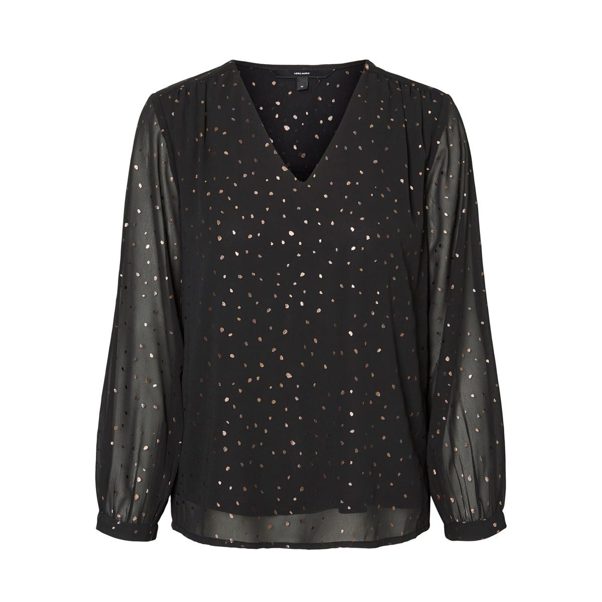цена Блузка La Redoute С V-образным вырезом прозрачными рукавами и рисунком в горошек S черный онлайн в 2017 году