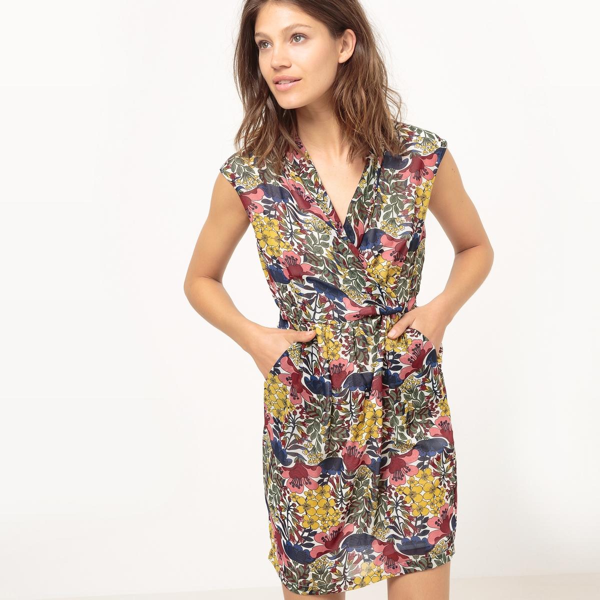 Платье без рукавов с экзотическим рисункомМатериал : 100% полиэстер  Длина рукава : Короткие рукава  Форма воротника : V-образный вырез Покрой платья : платье облегающего покроя Рисунок : принт.   Длина платья : короткое.<br><br>Цвет: рисунок/хаки