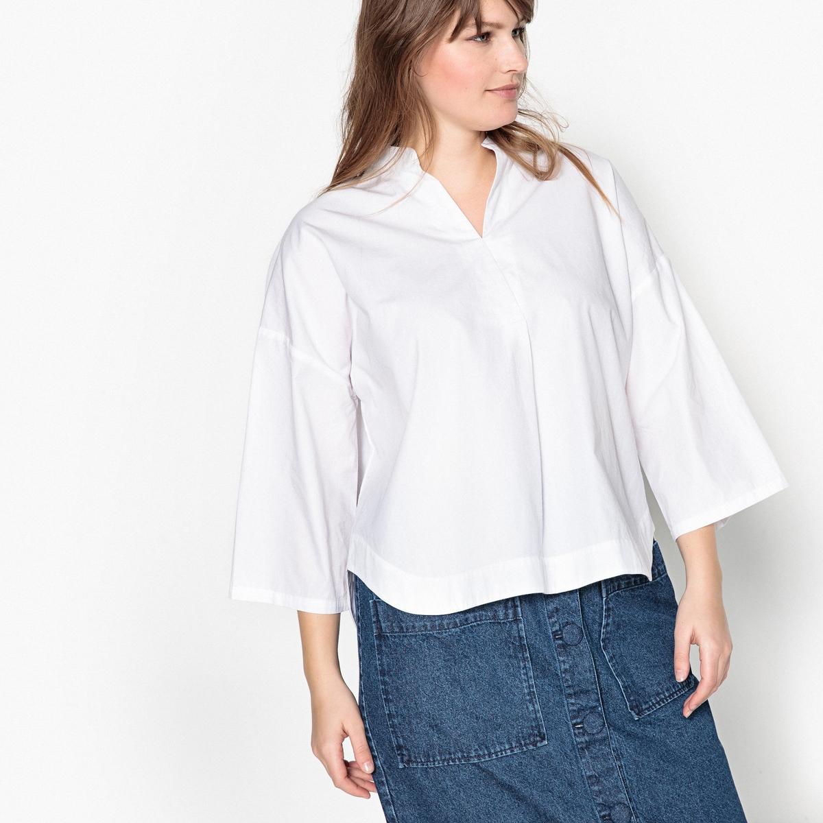 Блузка с круглым вырезом с разрезом спереди и короткими рукавами, 100% хлопок футболка с круглым вырезом с разрезом спереди и длинными рукавами