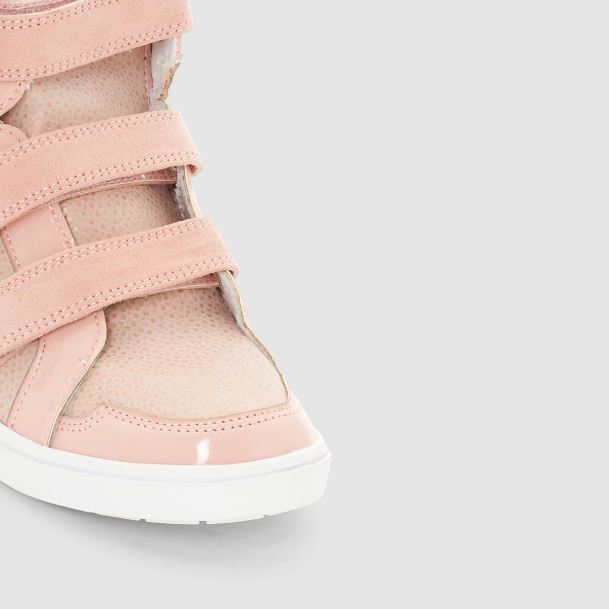 Кеды синтетическиеДетали  •  Спортивный стиль •  Плоский каблук •  Застежка : планка-велкроСостав и уход  • Верх 20% полиэстера, 80% полиуретана •  Подкладка 100% хлопок<br><br>Цвет: розовый<br>Размер: 32.39.26