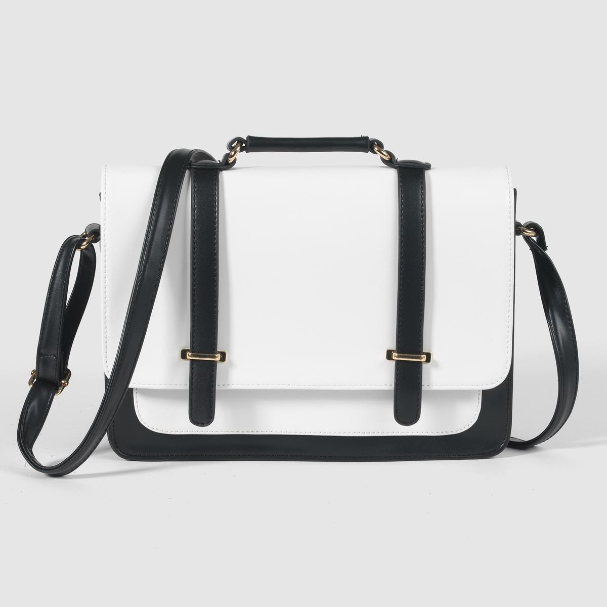 Сумка - портфельМарка : MADEMOISELLE RРазмеры : 30 x 23 x 8 смВерх : 100% полиуретанПодкладка : 100% полиэстерЗастежка : на магнитной кнопкеКарманы : 1 карман на молнии, 2 кармана для мобильного телефона и 1 накладной карман спередиПлечевой ремень : регулируемый Преимущества : стильная сумка, необходимая для работы или для прогулок по городу.<br><br>Цвет: черный/ белый