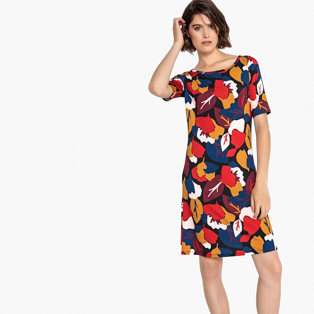 Платье из джерси с цветочным рисунком