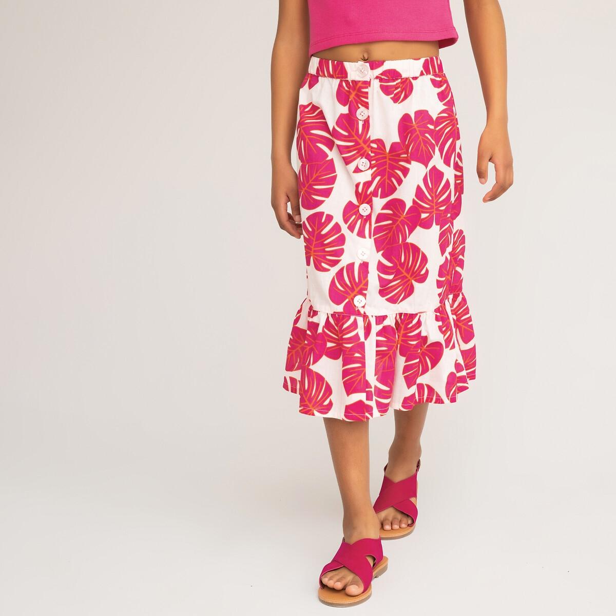 Фото - Юбка LaRedoute С воланом цветочный принт 3-12 лет 8 лет - 126 см розовый рубашка laredoute джинсовая 3 12 лет 8 лет 126 см синий