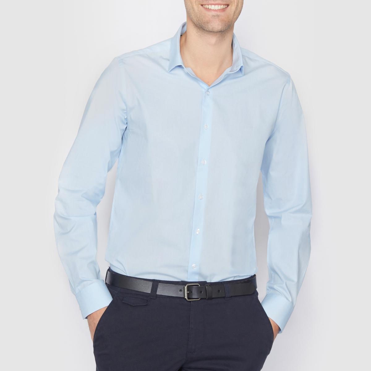 Рубашка прямого покроя с длинными рукавами, 100% хлопокРубашка из поплина, 100% хлопок. Прямой покрой. Длинные рукава. Воротник со свободными уголками. Длина 77 см.<br><br>Цвет: небесно-голубой,темно-синий<br>Размер: 37/38.35/36.35/36