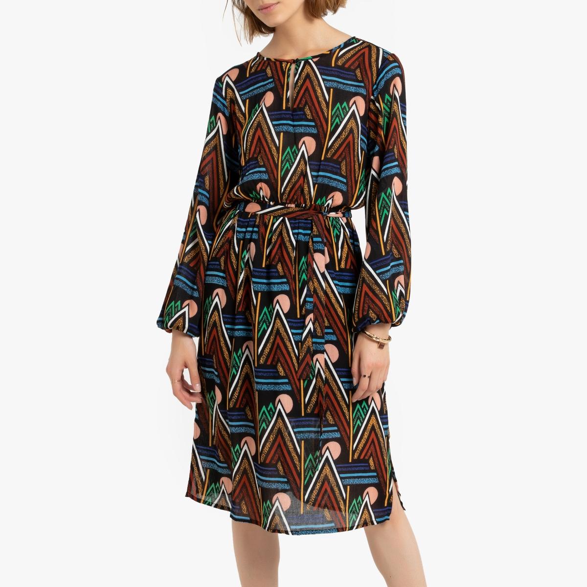 Платье La Redoute Длиной ниже колен с поясом с завязками S черный