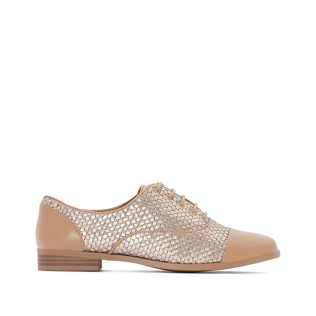 Ботинки-дерби на плоском каблуке с плетеным эффектом с металлическим блеском