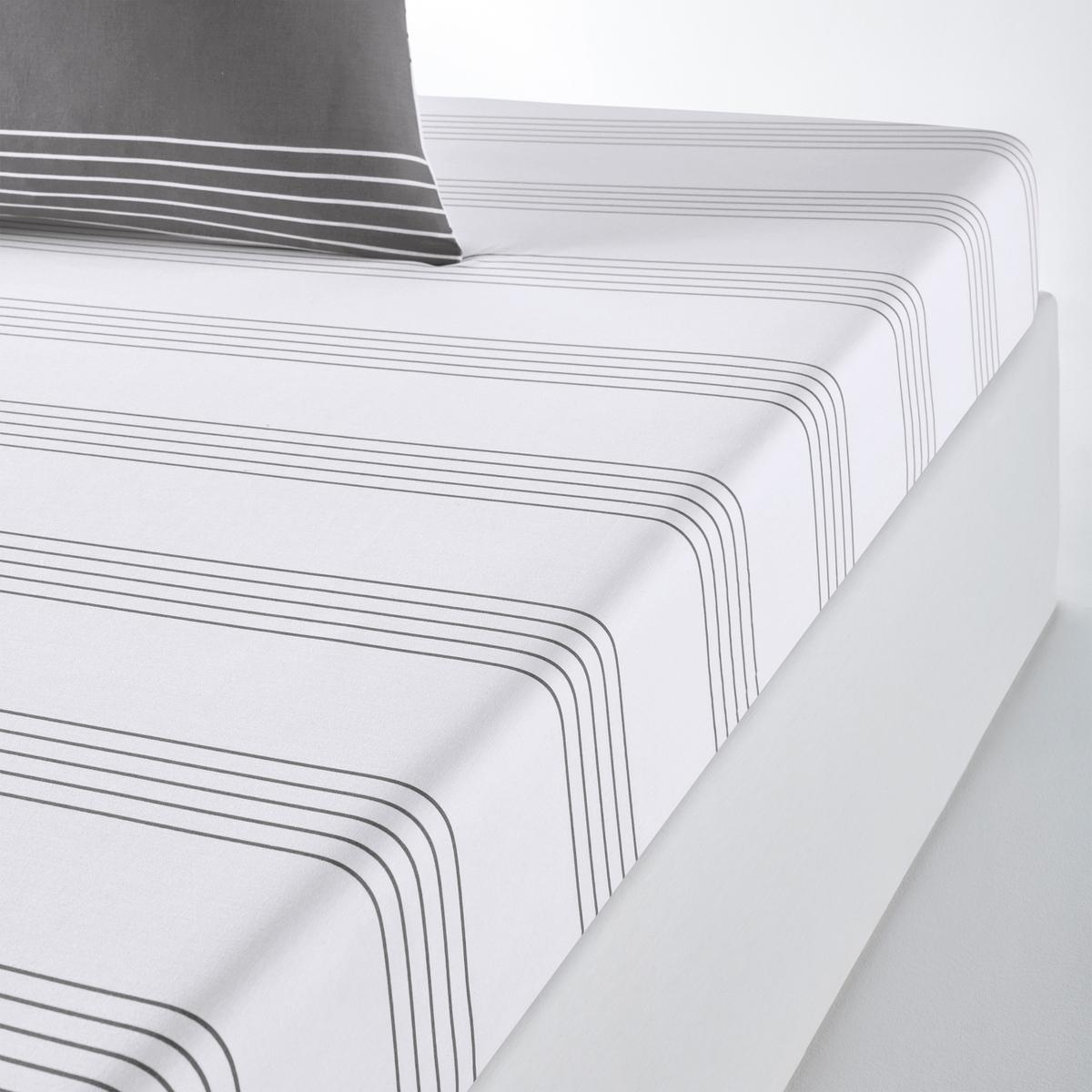 Натяжная простыня LaRedoute С рисунком HORIZON 180 x 200 см серый кровать laredoute numa 160 x 200 см серый