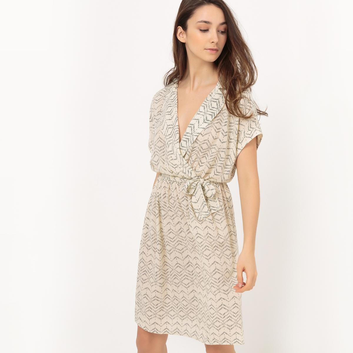 Платье в стиле каш-кер с короткими рукавамиМатериал : 100% вискоза   Длина рукава : короткие рукава   Форма воротника : V-образный вырез  Покрой платья : расклешенное платье  Рисунок : принт    Длина платья : до колен<br><br>Цвет: темно-синий/рисунок,хаки/рисунок,экрю/рисунок<br>Размер: XS.XS
