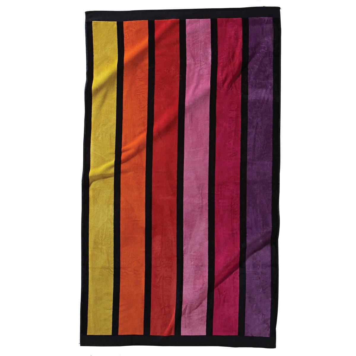 Полотенце пляжное в вертикальную полоскуПляжное полотенце из махровой ткани и велюра в полоску, 100% хлопка. 1 сторона из велюра, 1 сторона из махровой ткани. 470 г/м?. Размер: 100 x 175 см. Стирка при 40°.<br><br>Цвет: розовый