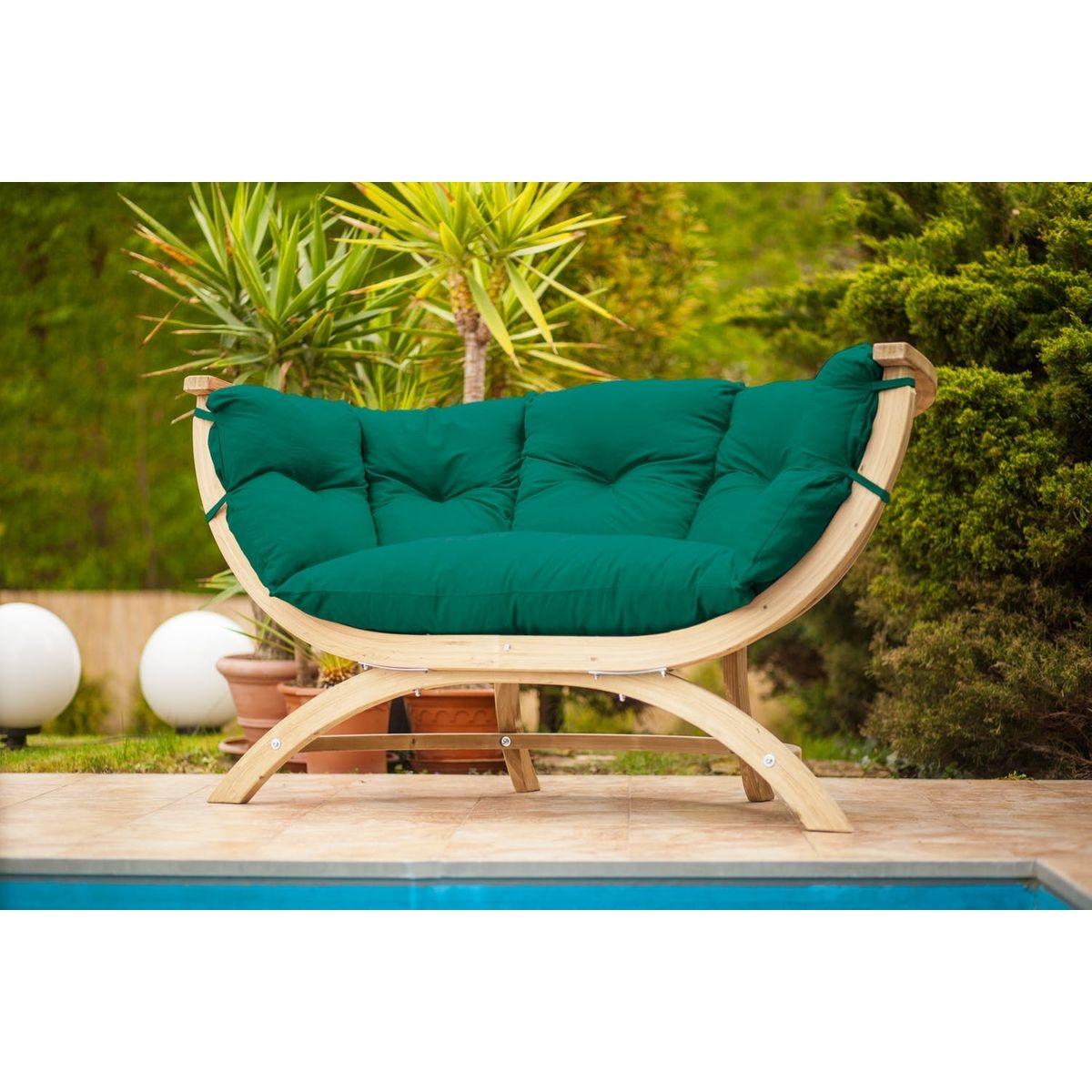 Canapé de jardin contemporain boule en bois épicéa et tissu vert SIENA DUE 2 places