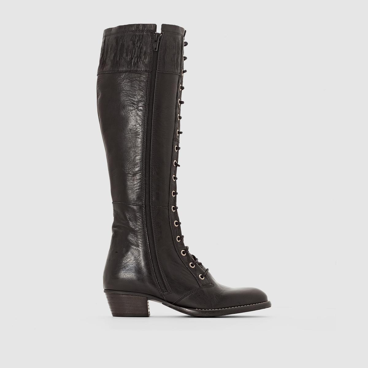 Сапоги из кожи на шнуровке RubyВерх/ Голенище : Яловичная кожа   Подкладка : Кожа   Стелька :  Кожа   Подошва : каучук.   Высота голенища : 42,5 см.    Застежка : шнуровка.<br><br>Цвет: черный<br>Размер: 40