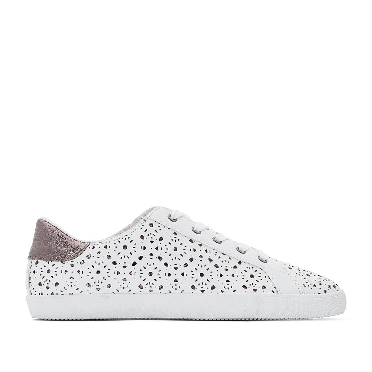Кеды La Redoute Низкие на шнуровке с перфорацией под кружево 38 белый ботинки la redoute на шнуровке 38 белый