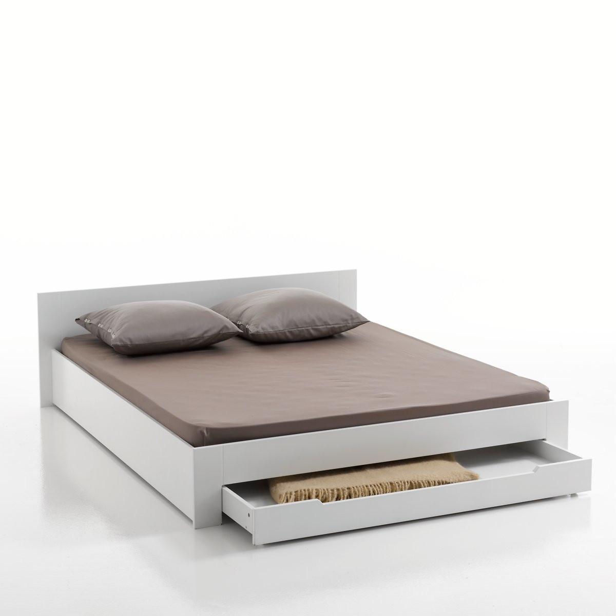 Кровать LaRedoute 2-х местная с кроватным основанием и ящиком Crawley 140 x 190 см белый кровать laredoute с ящиком отделениями для вещей и кроватным основанием yann 90 x 190 см белый