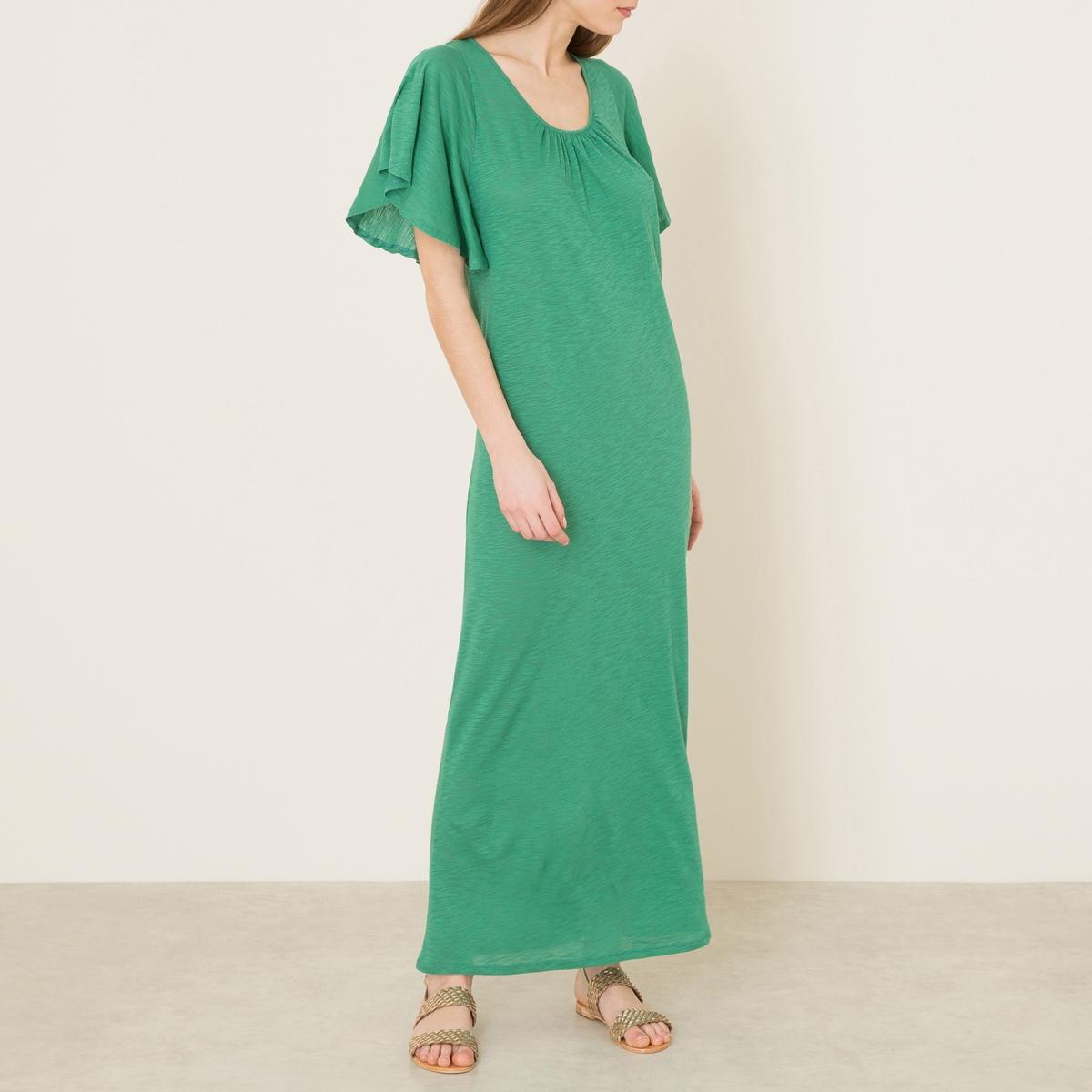 Платье CASABOПлатье длинное BA&amp;SH - модель CASABO из однотонной хлопковой вуали. Круглый вырез. Короткие рукава с воланами. Спинка с U-образным вырезом и завязками .Состав и описание    Материал : 100% хлопок   Марка : BA&amp;SH<br><br>Цвет: зеленый