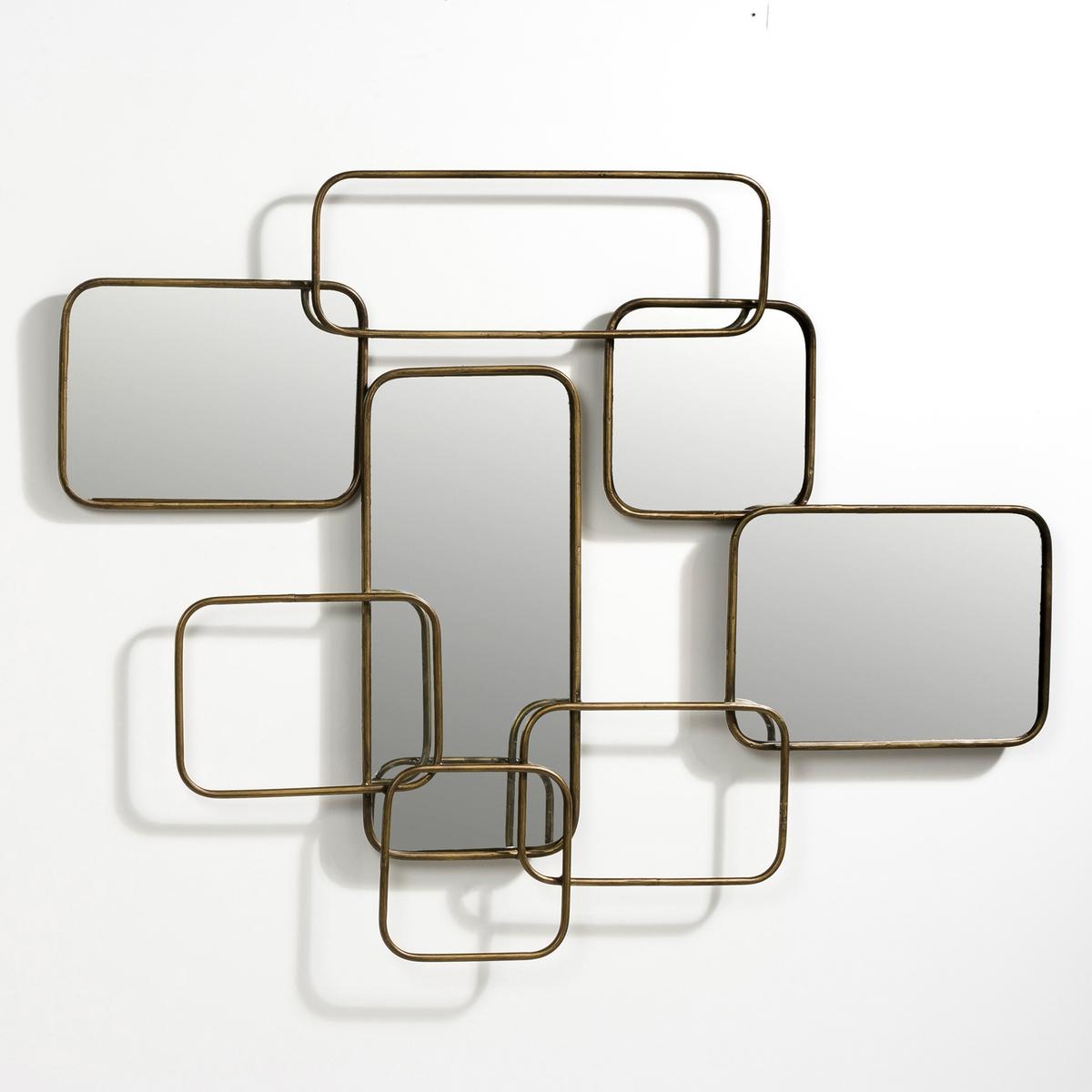 Зеркало настенное, Дл.85 x Выс.45 см, D?daleЭто настенное зеркало, состоящее из 4 спаянных зеркал в металлической оправе, добавит в Ваш интерьер графичную нотку в стиле 50-х годов.. Кронштейны для крепления на стену. Д.85 x Г.4 x В.45 см.<br><br>Цвет: отделка под старину