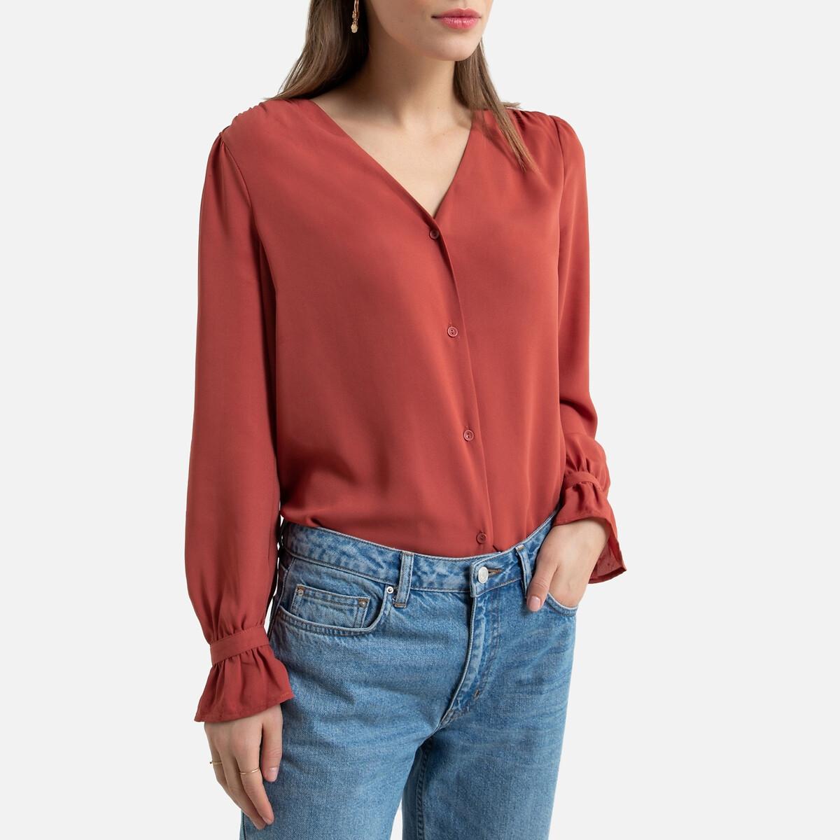 Blusa de decote em V, mangas compridas
