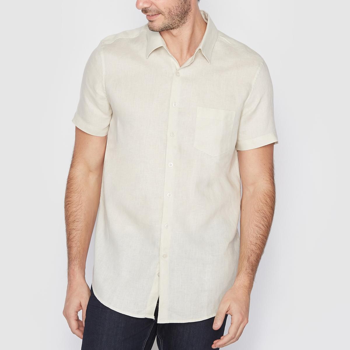 Рубашка прямого покроя 100% ленРубашка, 100% лен. Стандартный (прямой) покрой. Воротник со свободными уголками. Короткие рукава. Длина 77 см.<br><br>Цвет: песочный<br>Размер: 43/44.39/40