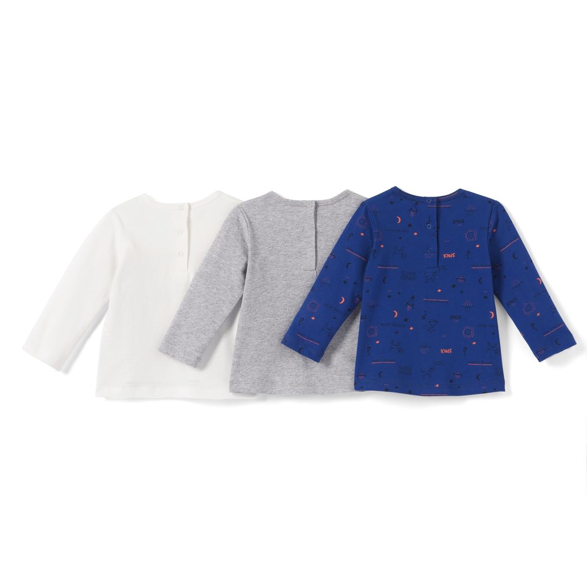 3 футболки с длинными рукавами, 1 мес. - 3 летОписание:Детали •  Длинные рукава •  Прямой покрой •  Круглый вырез •  Рисунок-принтСостав и уход •  100% хлопок •  Стирать при 40° • Средняя температура глажки / не отбеливать    • Барабанная сушка на слабом режиме   • Сухая чистка запрещена<br><br>Цвет: темно-синий + серый + экрю<br>Размер: 1 мес. - 54 см.18 мес. - 81 см.1 год - 74 см.9 мес. - 71 см.6 мес. - 67 см.3 мес. - 60 см.2 года - 86 см