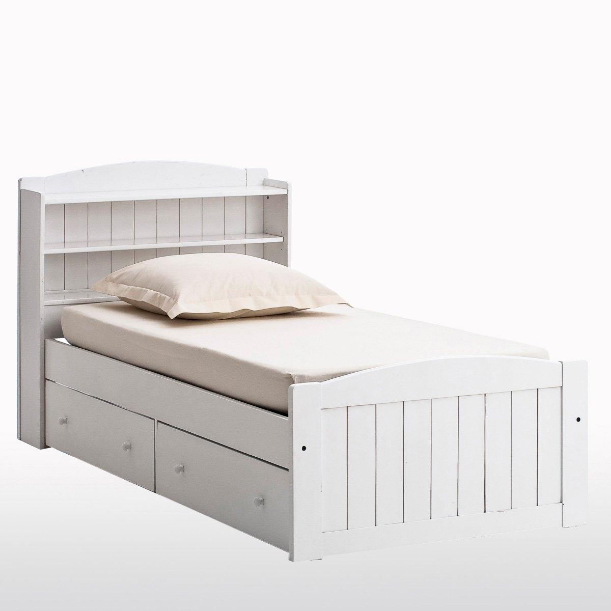 Кровать с изголовьем и ящиками из массива сосны Gaby шкаф для белья из массива сосны в120 см redmond