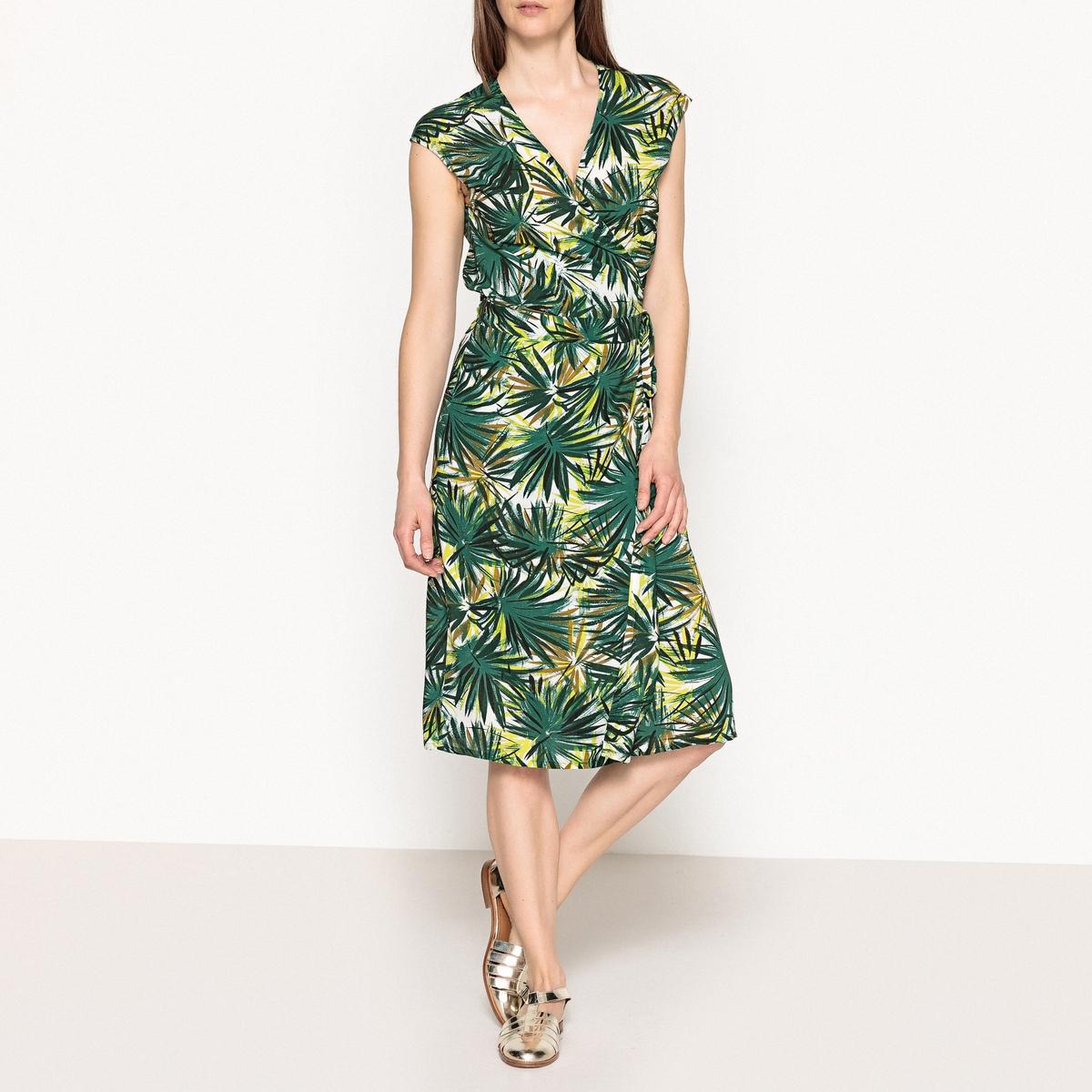 Платье с запахом и короткими рукавами ROULETTEОписание:Платье с запахом без рукавов HARTFORD - модель ROULETTE. Пояс с завязками. Платье из ткани с очень приятным рисунком.Детали •  Форма : с запахом •  Длина до колен •  Короткие рукава    •   V-образный вырез •  Рисунок-принтСостав и уход •  100% вискоза •  Следуйте рекомендациям по уходу, указанным на этикетке изделия •  Длина платья : ок. 110 см. для размера 1<br><br>Цвет: зеленый