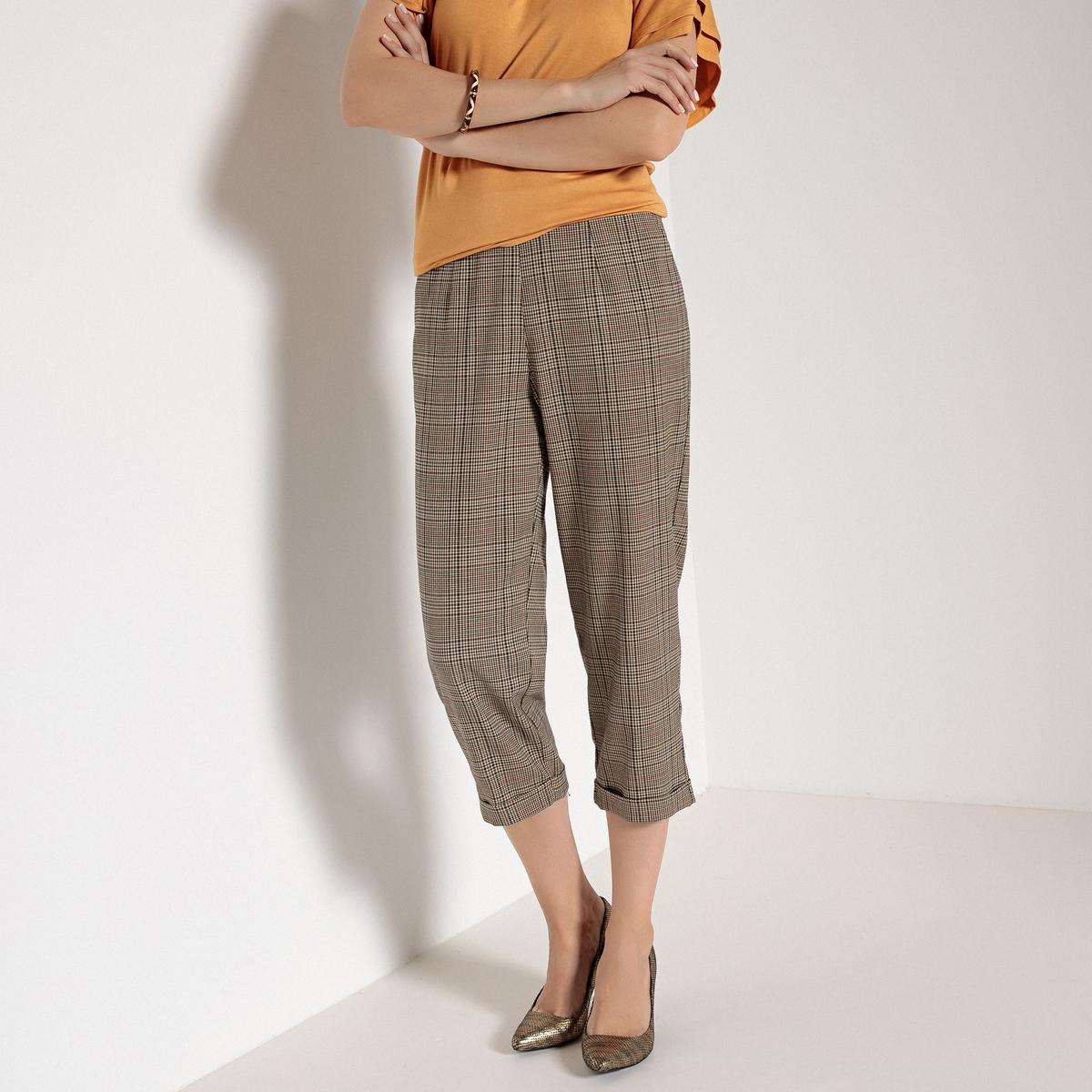 Брюки короткие прямые с рисунком в клетку прямые брюки с застежкой на молнию cristina effe прямые брюки с застежкой на молнию