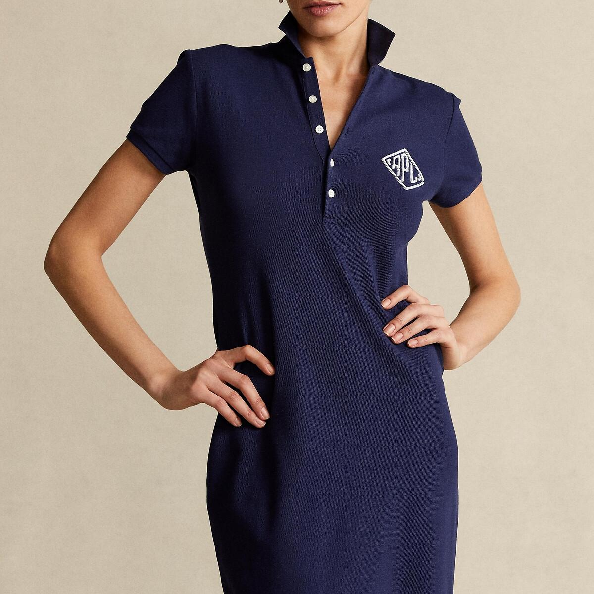 Платье LaRedoute Длинное прямое с короткими рукавами L синий