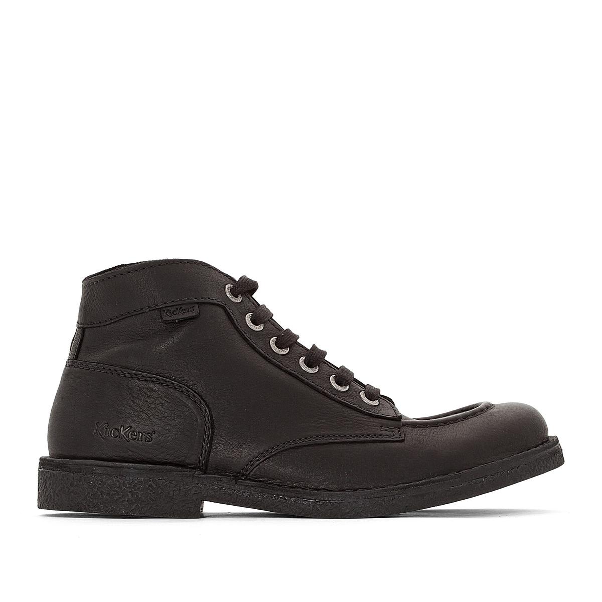 Ботильоны кожаные KickstonerПодкладка: без подкладки Стелька:невыделанная кожа  Подошва: каучукВысота каблука: 3 смВысота голенища: 12 см  Мысок: закругленный  Застежка: на шнуровку<br><br>Цвет: черный<br>Размер: 42.40